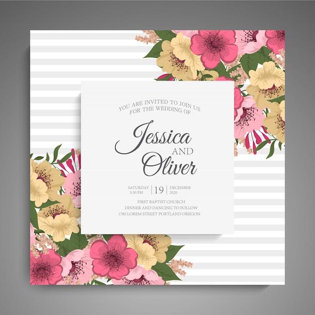 Hochzeitseinladung mit bunter blume. Kostenlosen Vektoren