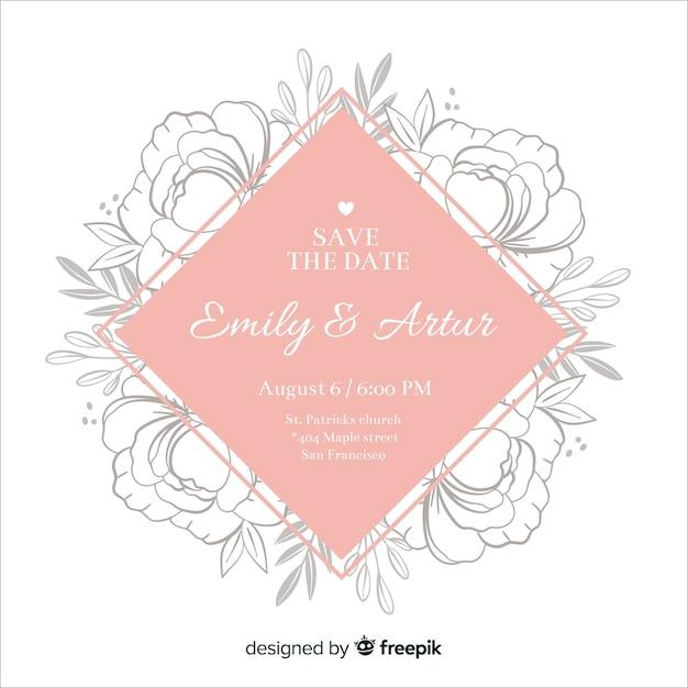 Hochzeitseinladung mit floralen rahmen Kostenlosen Vektoren