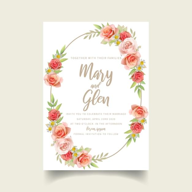 Hochzeitseinladung mit floralen rosen Premium Vektoren