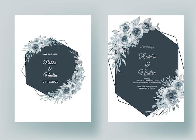 Hochzeitseinladung mit form geometrisches blumenblau pastell Kostenlosen Vektoren