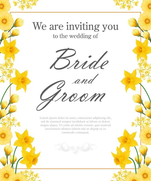 Hochzeitseinladung mit gelben narzissen und gerberas. Kostenlosen Vektoren