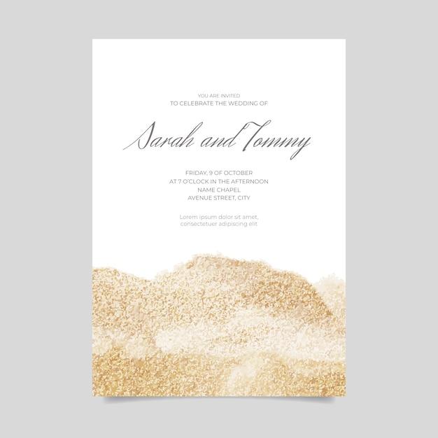 Hochzeitseinladung mit glitzer Kostenlosen Vektoren