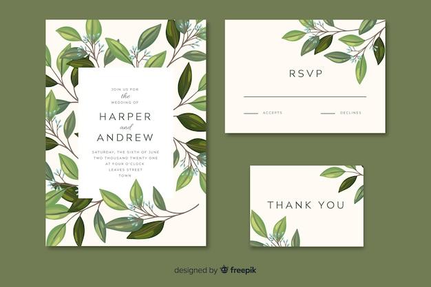 Hochzeitseinladung mit hand gezeichneten blättern Kostenlosen Vektoren