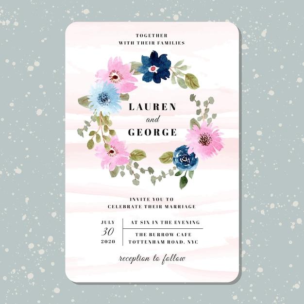 Hochzeitseinladung mit hübschem blumenkranzaquarell Premium Vektoren