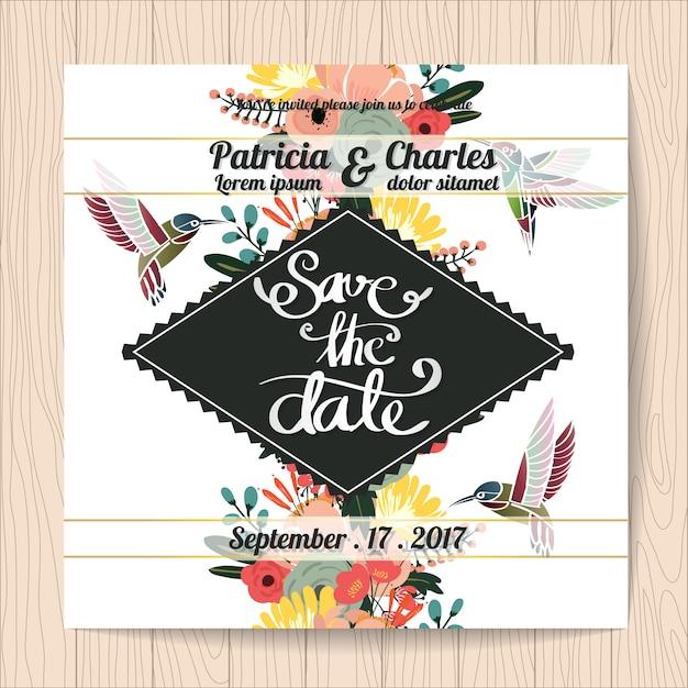 Hochzeitseinladung mit kolibris Kostenlosen Vektoren