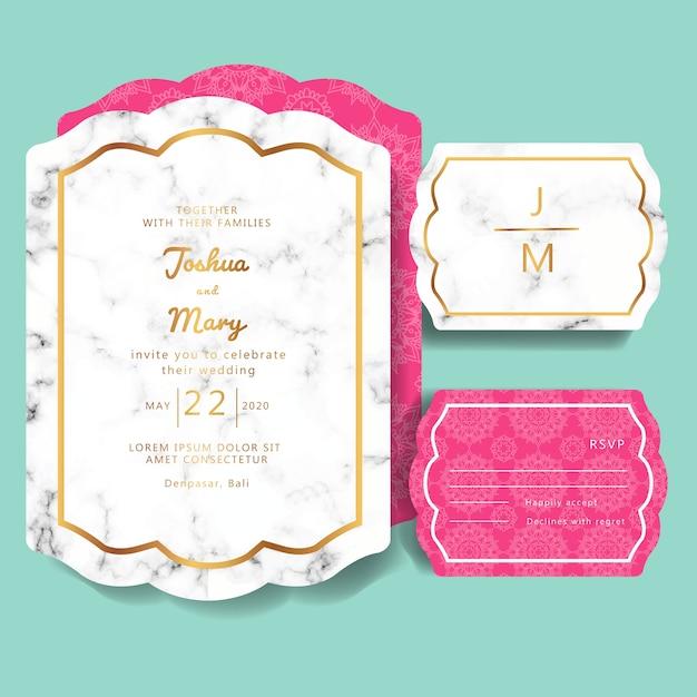 Hochzeitseinladung mit marmor hintergrund Premium Vektoren