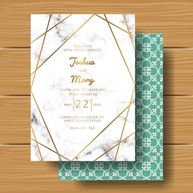 Hochzeitseinladung mit marmorhintergrund und abstrakter linie Premium Vektoren