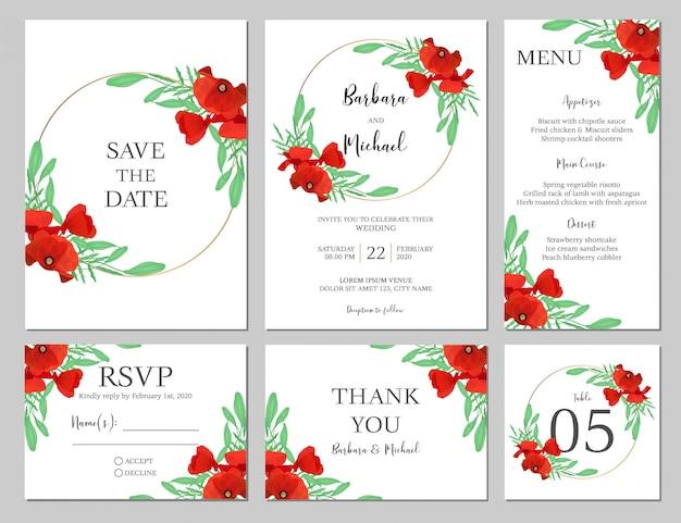 Hochzeitseinladung mit mohnblume gesetzt Premium Vektoren
