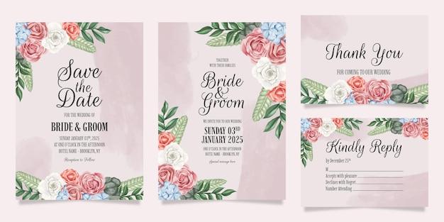 Hochzeitseinladung mit pfirsichaquarellblumendekorationsrahmen Premium Vektoren
