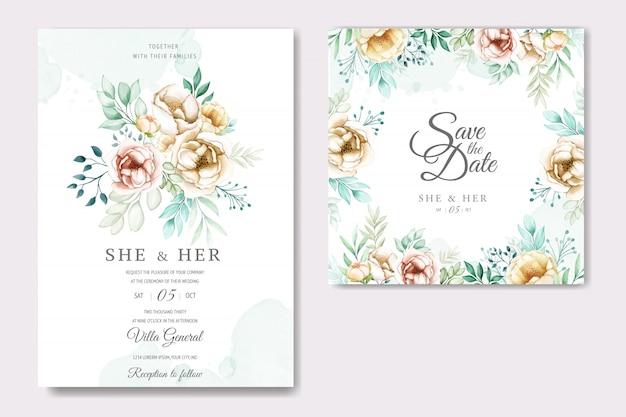 Hochzeitseinladung mit reizenden aquarellblumen Premium Vektoren