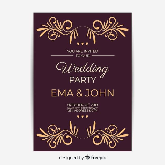 Hochzeitseinladung mit retro-vorlage Kostenlosen Vektoren