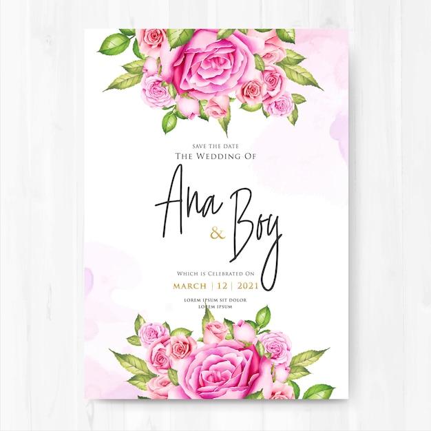 Hochzeitseinladung mit rosa blumen des aquarells Premium Vektoren