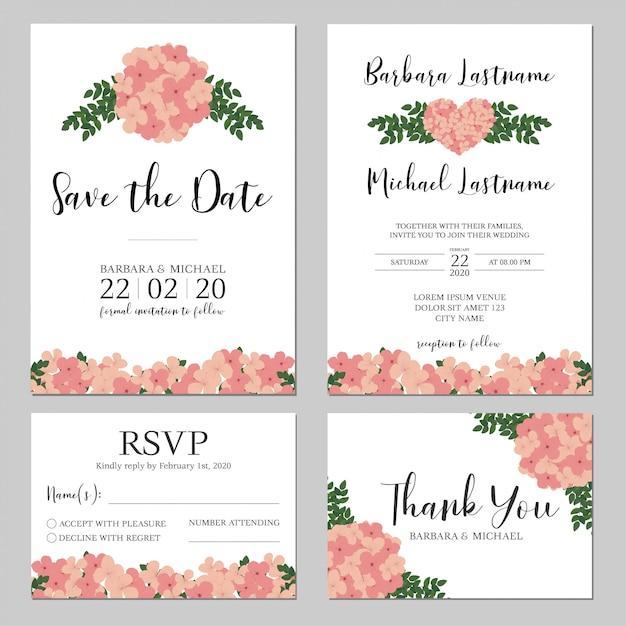 Hochzeitseinladung mit rosa hortensieblume Premium Vektoren