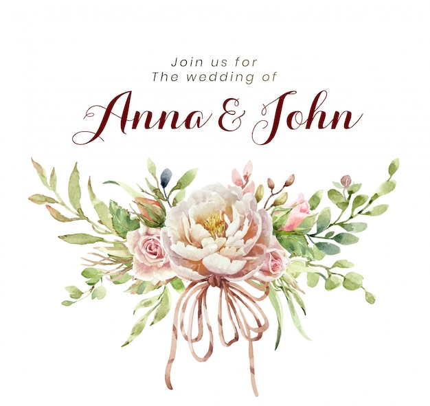 Hochzeitseinladung mit rosafarbenen blumen des aquarellblumenstraußes Premium Vektoren