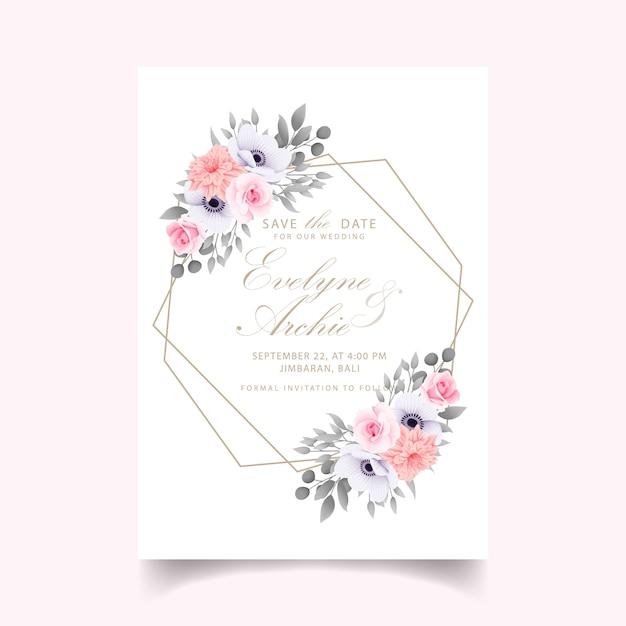 Hochzeitseinladung mit rosen Premium Vektoren