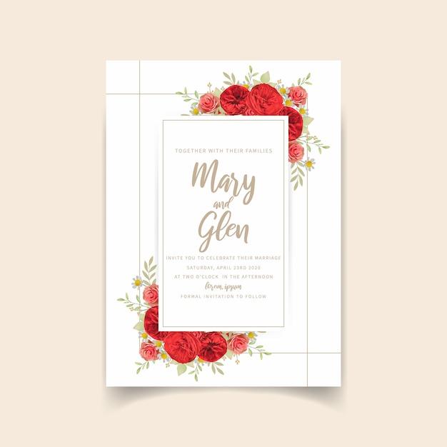 Hochzeitseinladung mit roten blumenrosen Premium Vektoren