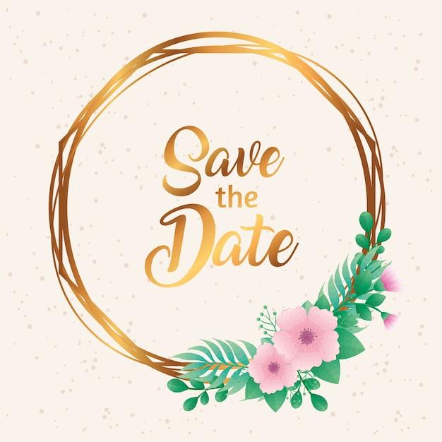 Hochzeitseinladung mit save the date-schriftzug und blumen in der goldenen rahmenvektorillustration Premium Vektoren