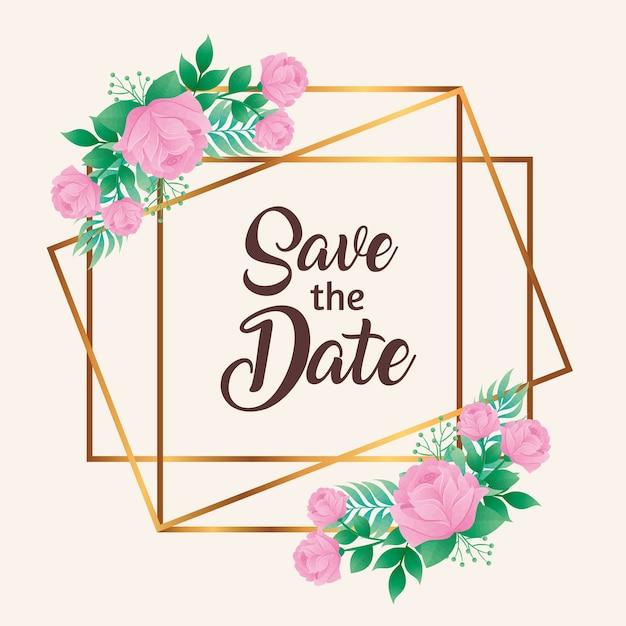 Hochzeitseinladung mit save the date-schriftzug und rosa blumen im goldenen quadratischen rahmenvektor Premium Vektoren