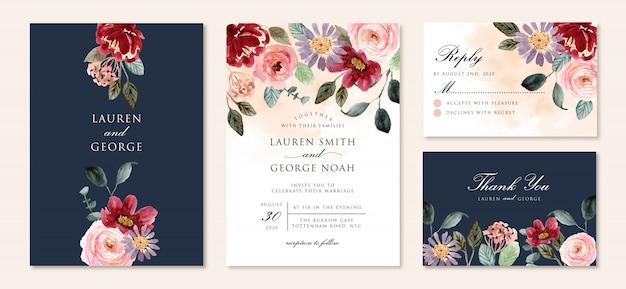 Hochzeitseinladung mit schönem blumengartenaquarell Premium Vektoren