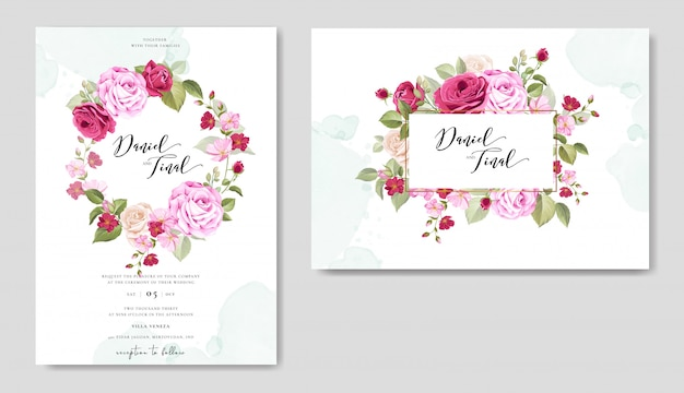Hochzeitseinladung mit schönen blumen und blättern gesetzt Premium Vektoren
