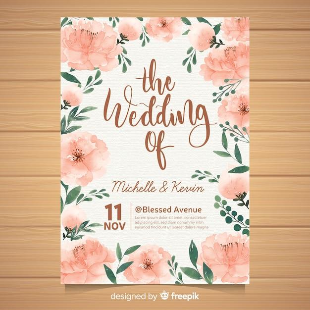 Hochzeitseinladung mit schönen pfingstrosenblumen Kostenlosen Vektoren