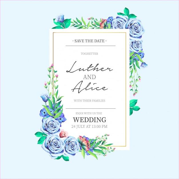 Hochzeitseinladung mit schönen blauen Blumen Kostenlose Vektoren