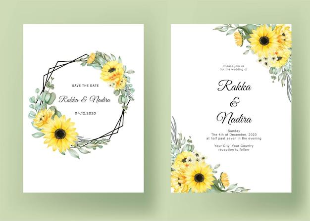 Hochzeitseinladung mit sonnenblumen eingestellt Kostenlosen Vektoren