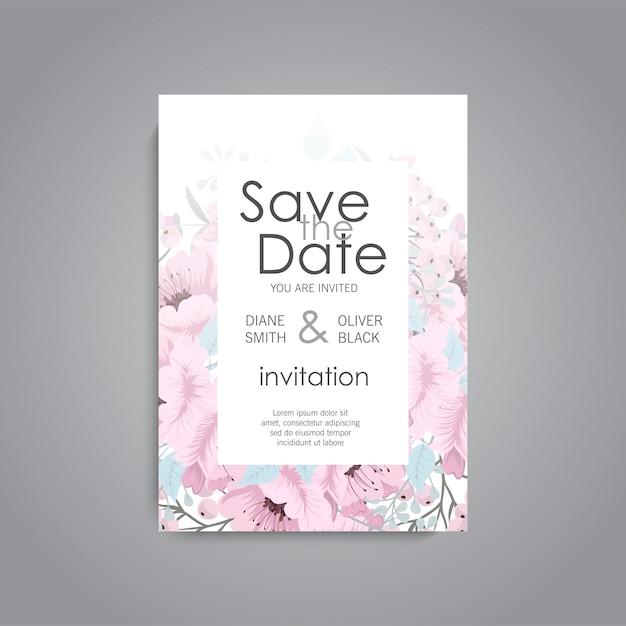 Hochzeitseinladung. schöne blumen. grußkarte. rahmen. Premium Vektoren