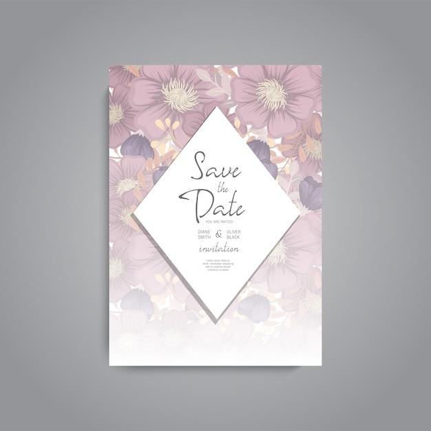 Hochzeitseinladung. schöne blumen. grußkarte. rahmen. Kostenlosen Vektoren