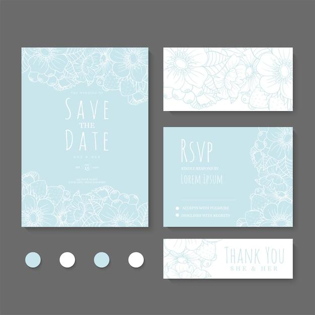 Hochzeitseinladung, speichern sie das datum. Kostenlosen Vektoren