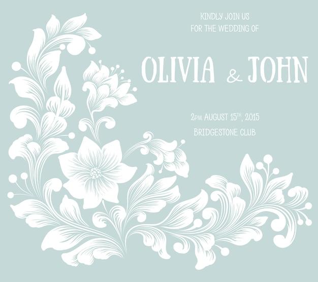 Hochzeitseinladung und ankündigungskarte mit blumenhintergrundgrafik. eleganter verzierter blumenhintergrund. blumenhintergrund und elegante blumenelemente. designvorlage. Kostenlosen Vektoren