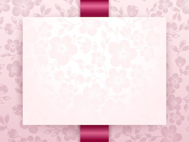 Hochzeitseinladung und -mitteilungskarte mit blumenhintergrundgrafik Kostenlosen Vektoren