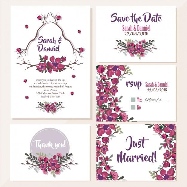 Hochzeitseinladungen Blumenentwurf Kostenlose Vektoren