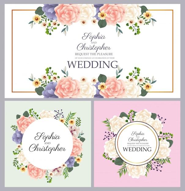 Hochzeitseinladungen mit floralen runden rahmen Premium Vektoren