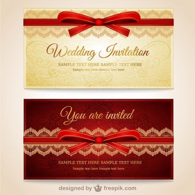 Hochzeitseinladungen mit roten spitzen Kostenlosen Vektoren
