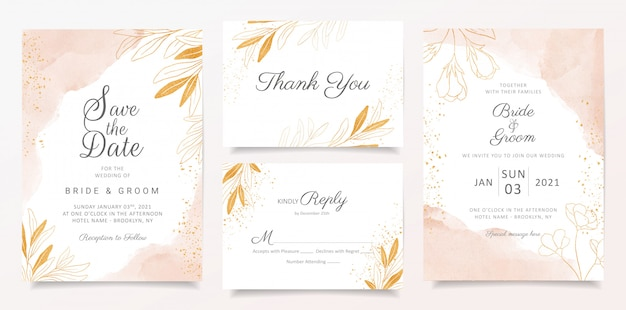 Hochzeitseinladungs-kartenschablone des aquarells sahnige stellte mit goldener blumendekoration ein. Premium Vektoren