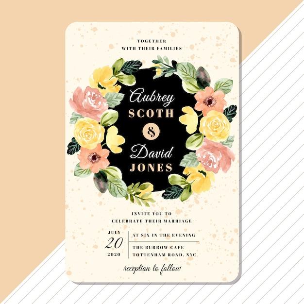 Hochzeitseinladungs-kartenschablone mit gelb erröten blumenkranzaquarell Premium Vektoren
