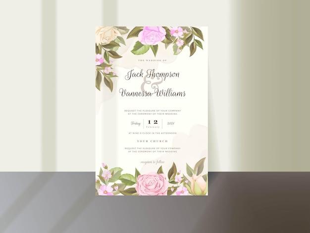 Hochzeitseinladungs-kartenschablonendesign mit blumen Premium Vektoren