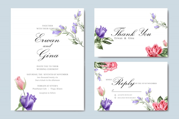 Hochzeitseinladungs-schablonenkarte mit dem aquarell mit blumen Premium Vektoren