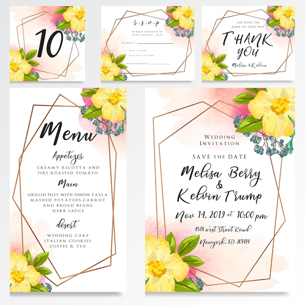 Hochzeitseinladungs-uawgkarten-aquarellart Premium Vektoren
