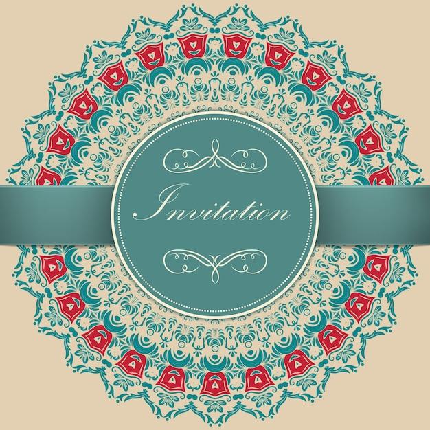 Hochzeitseinladungs- und ankündigungskarte mit ornamentalen runden spitzen mit arabeskenelementen. mehndi-stil. orient traditionelle verzierung. zentangle-like runde farbige blumen ornament. Kostenlosen Vektoren