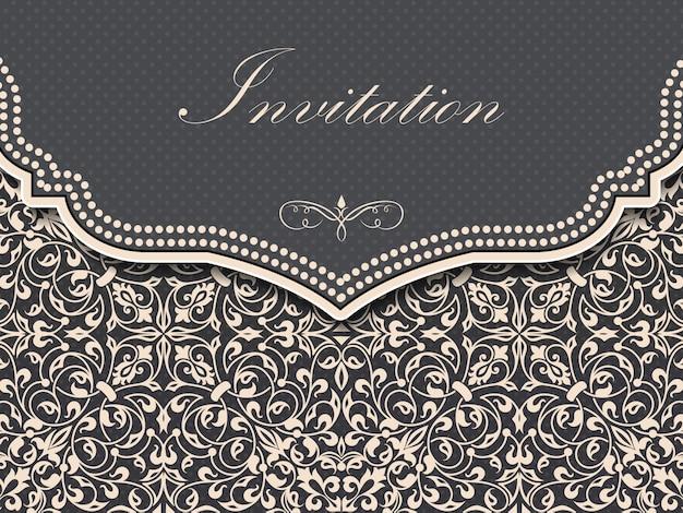 Hochzeitseinladungs- und mitteilungskarte mit weinlesehintergrund Kostenlosen Vektoren