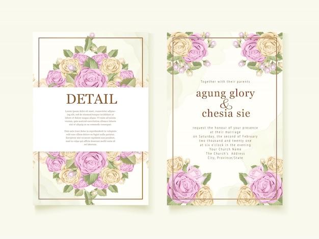 Hochzeitseinladungsabdeckungsentwurf mit rosenstrauß Premium Vektoren