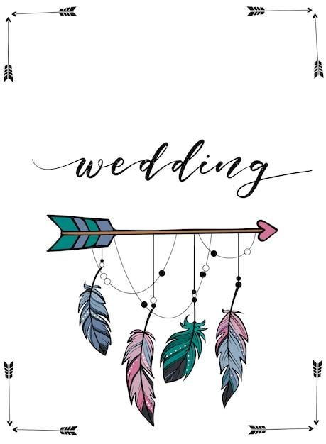 Hochzeitseinladungsdesign in der boho art Premium Vektoren