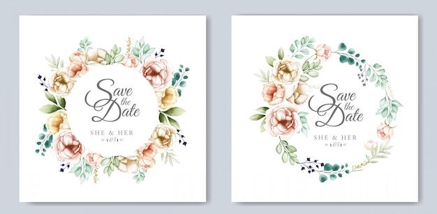 Hochzeitseinladungsentwurf mit dem aquarell mit blumen und blättern Premium Vektoren