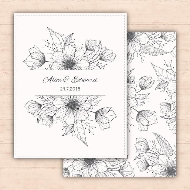 Hochzeitseinladungsentwurf mit Hand gezeichneten Blumen Kostenlose Vektoren