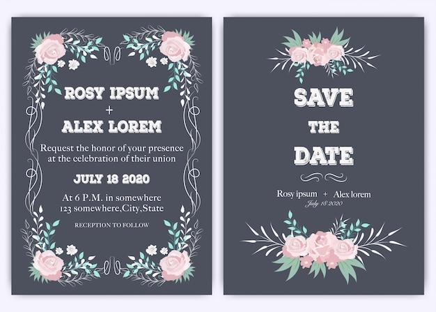 Hochzeitseinladungskarte blumenhand gezeichnet Premium Vektoren