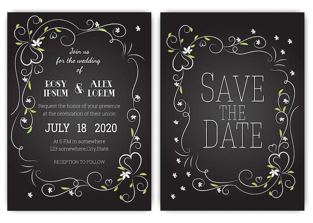 Hochzeitseinladungskarte blumenhand gezeichneter rahmen. Premium Vektoren