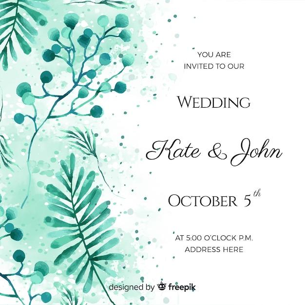 Hochzeitseinladungskarte des aquarells tropische Kostenlosen Vektoren