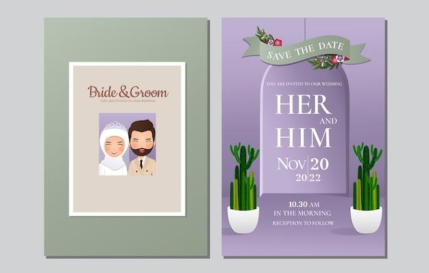 Hochzeitseinladungskarte die braut und bräutigam niedlichen muslimischen paar cartoon Premium Vektoren